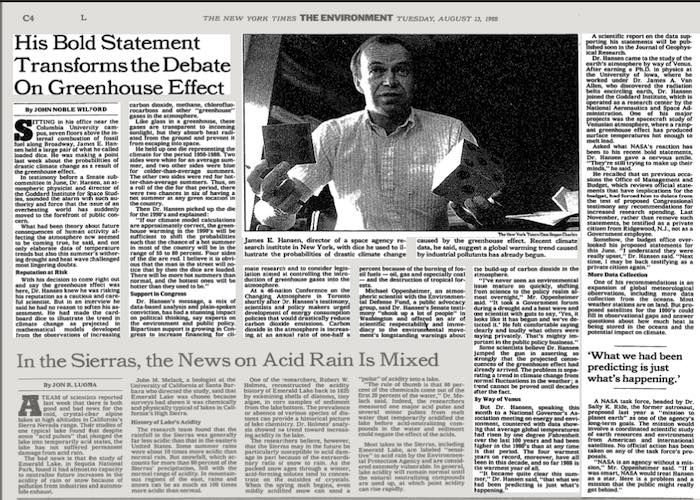 James Hansen über den Klimawandel in der New York Times 1988 | © NYTimes