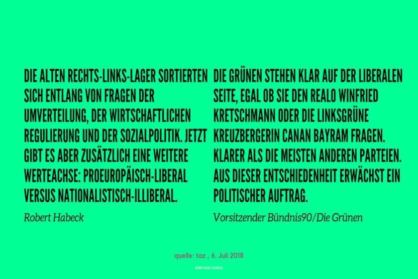 Text zur liberalen Politik der Grünen in einem Zitat von deren Vorsitzendem Robert Habeck.