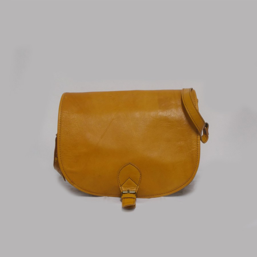Shoulder Bag Yellow Handmade Leather Thomassi 2020