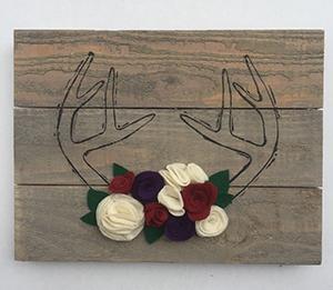 Felt flower antlers-300