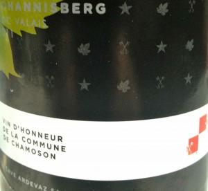 L'étiquette de la réserve du johannis' officiel de la commune de Chamoson.