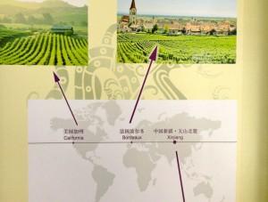 Au Musée vitivinicole du Domaine Champ-d'Or, le rappel de la même latitude du Xinjiang avec la Californie et Bordeaux.