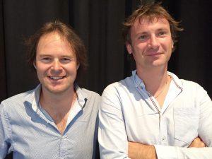 Le duo qui suit et remplace Madeleine Gay: à g., Samuel Panchard, œnologue qui suit tout le travail viticole, à dr., le maître de chais Damien Caruzzo, caviste.