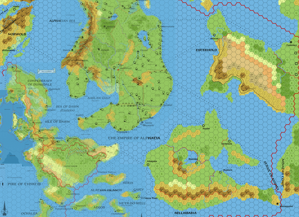 Dawn's 72 mile per hex map with 24 mile per hex maps overlaid at 50% opacity