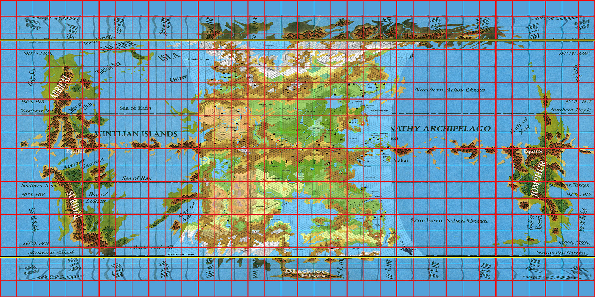 Hollow world thorfinn tait cartography fully corrected hollow world map with hex maps overlaid and new graticule in red gumiabroncs Image collections