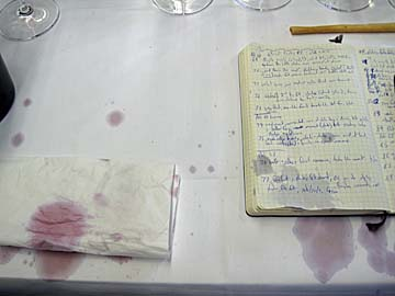 [stained notebook]