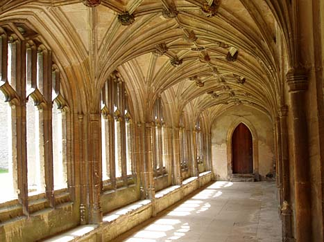 Photographs of site of Harry Potter filming at Lacock Abbey Wiltshire England United Kingdom