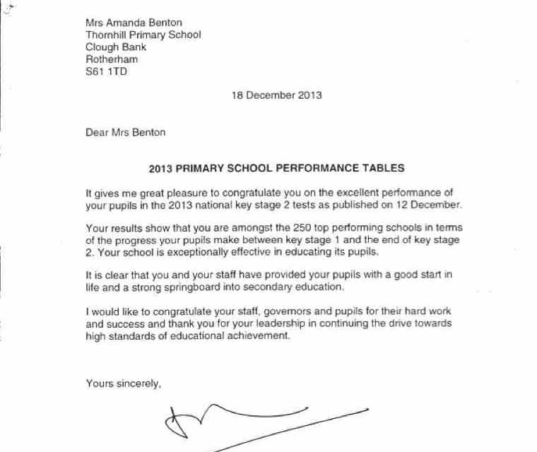 Staff and Governors at Thornhill are pleased to receive a letter commending the children at Thornhill on their progress 2013.