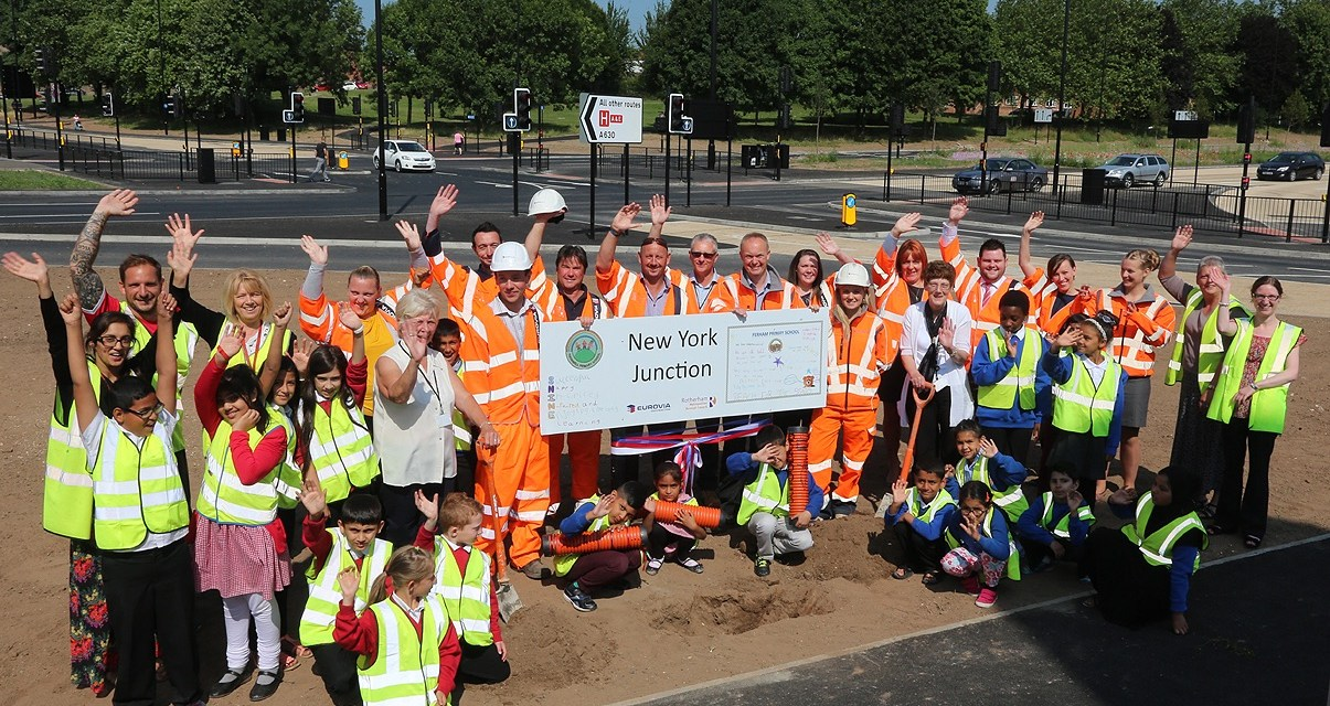 "Thornhill children have put a time capsule under the new road outside school and were proud to have named the new road ""New York Junction"""