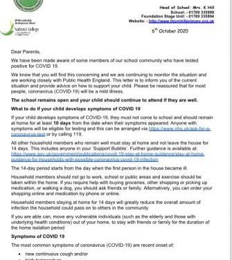 COVID Letter October 2020