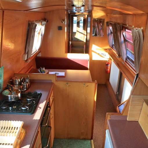 Galley and dinette Cheshire Cat hire boat thorn marine