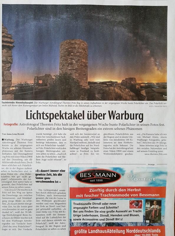 Lichtspeaktakel über Warburg