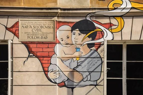 Um mural anunciando os perigos do polônio