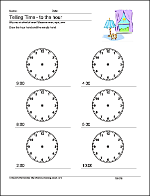 Telling Time Lesson With Worksheets