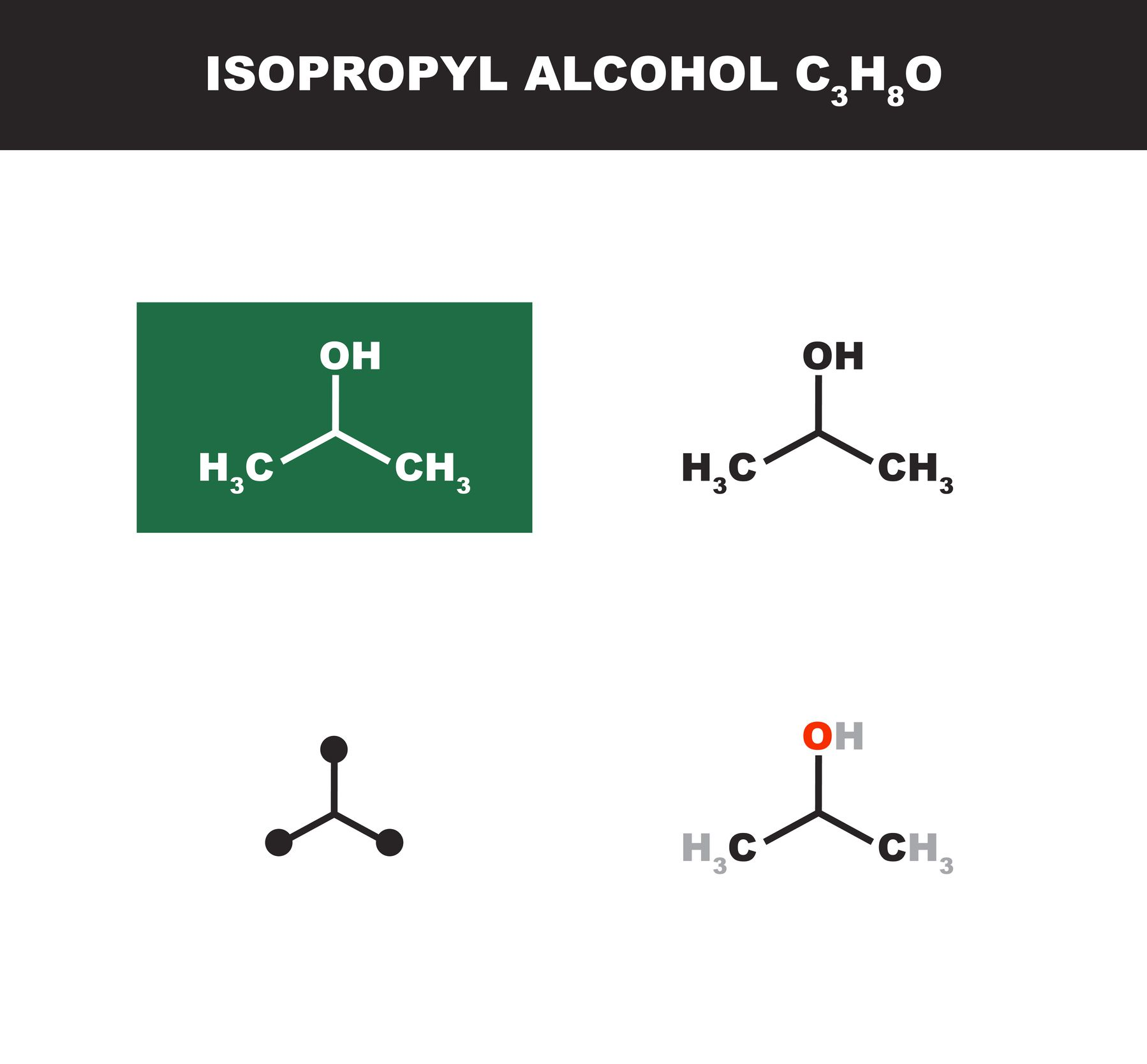 hight resolution of isopropyl alcohol chemical structures