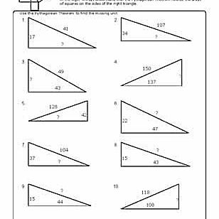 Worksheets to Practice Pythagorean Theorem Problems