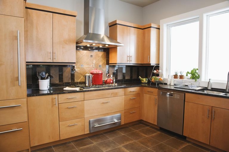 upper kitchen cabinets faucet replacement optimal cabinet height modern with red pots on stove