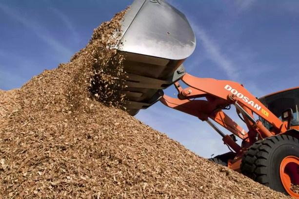 Lascas de madeira usadas para geração de eletricidade de biomassa
