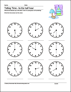 Math Worksheets to Help with Telling Time to the Half Hour