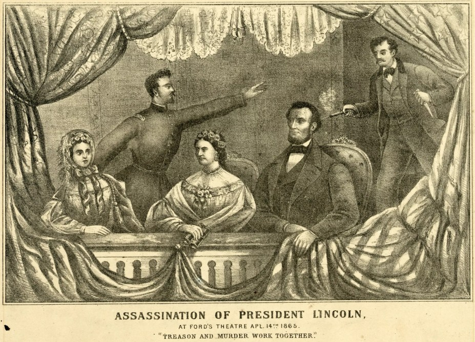 The assassination of President Lincoln at Ford's Theatre, April 14, 1865, as depicted in this lithograph by H.H. Lloyd & Co.