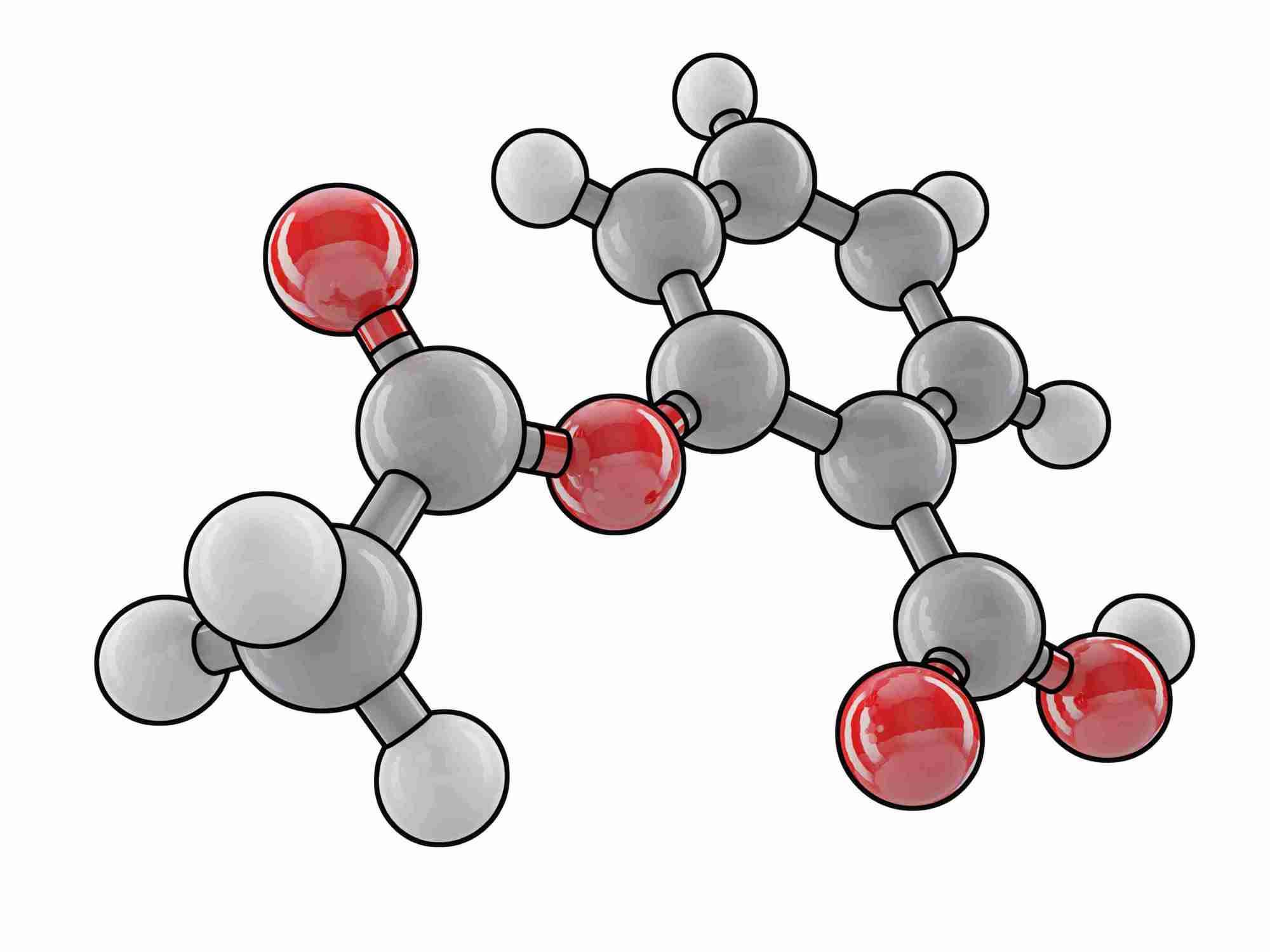 hight resolution of aspirin molecule
