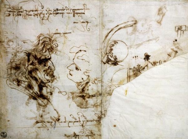 Estudos de perfis masculinos por Leonardo da Vinci