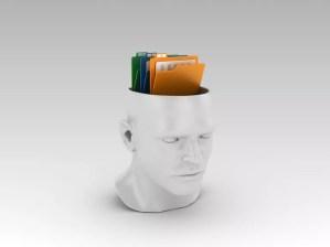 Human Head with Computer Folders