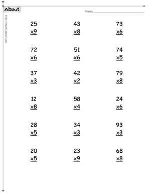 Multiplication worksheets 2 and 3 digits. Timestables 2