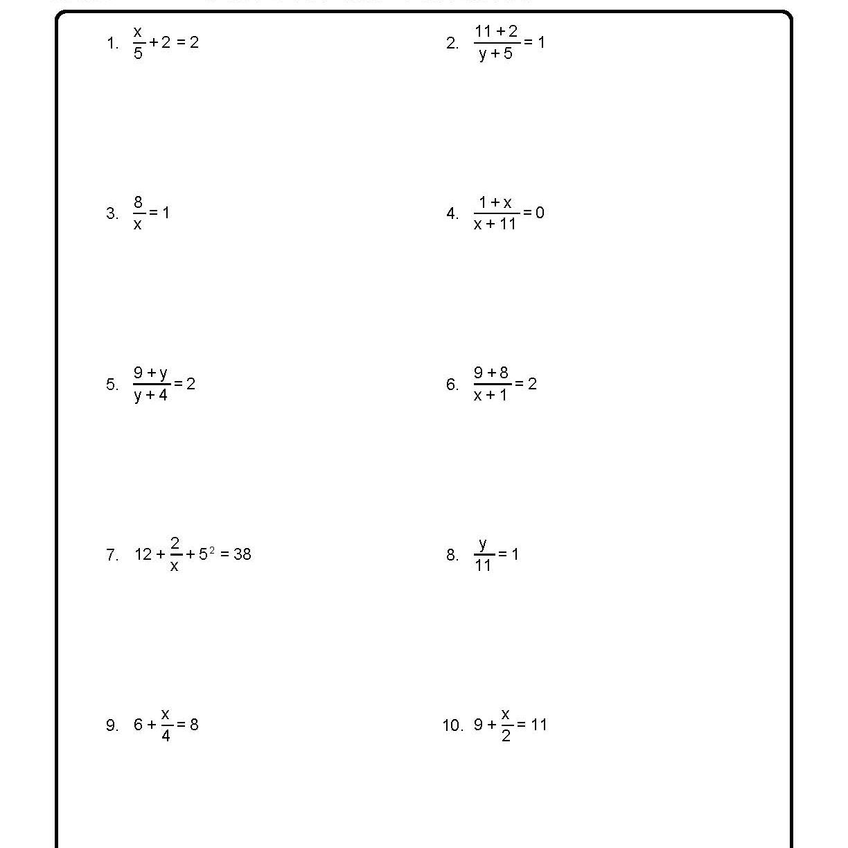 Solving Equations In One Variable Worksheet