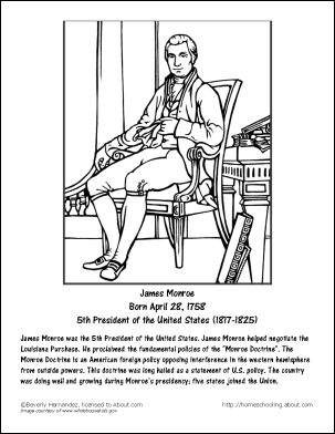 James Monroe Word Search, Work Sheets and Coloring Page