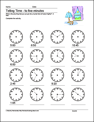 These math worksheets help students tell time to 10, five