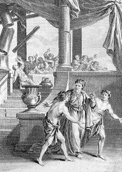 Simonides is called away from the collapsing hall by Castor and Pollux