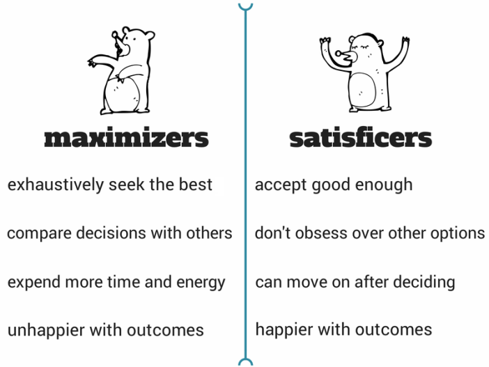 Maximizer vs. Satisficer
