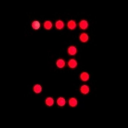 Digital number 3 written in red lights
