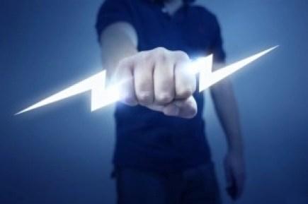 Man Holding Lightning Bolt in Fist