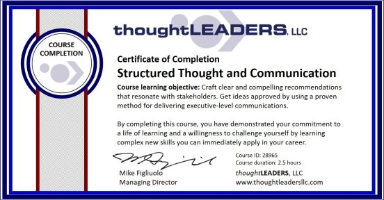 TITAN eLearning Certificate - Structured Thought and Communication