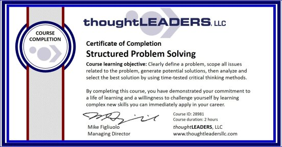 TITAN eLearning Certificate - Structured Problem Solving