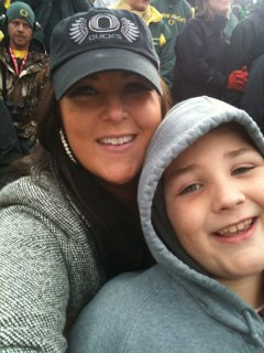 Sarah Centrella with son Oregon Ducks