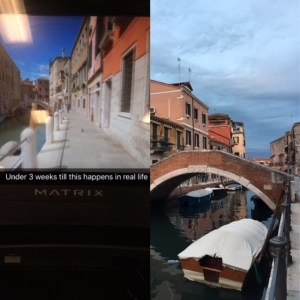 On the left a screen shot of my treadmill workout from Snapchat of the street. On the right the street our apartment was on, same street.