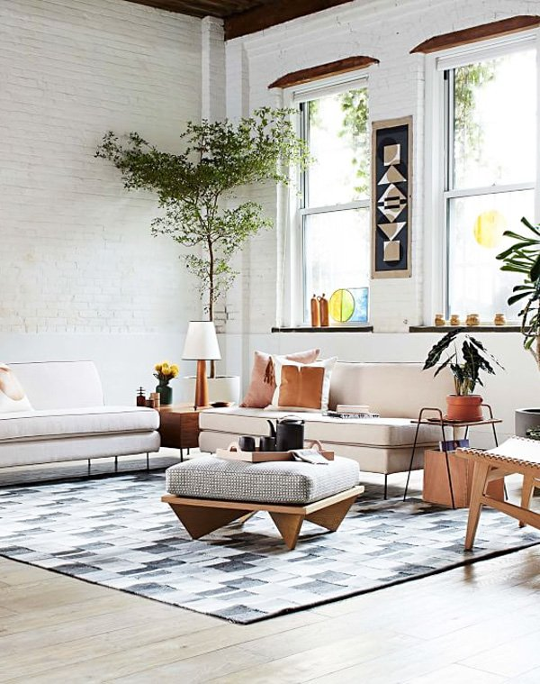 west elm living rooms side drawers room commune design for thou swell modern loft with armless sofas via thouswellblog