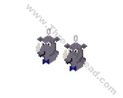 Rhino in a Bow Tie Earring Bead Pattern By ThreadABead