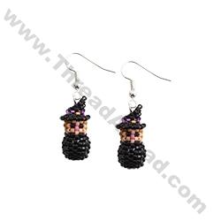 Mini 3D Beaded Halloween Witch Earrings Pattern Bead