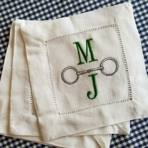 hemstitch snaffle cocktail napkin