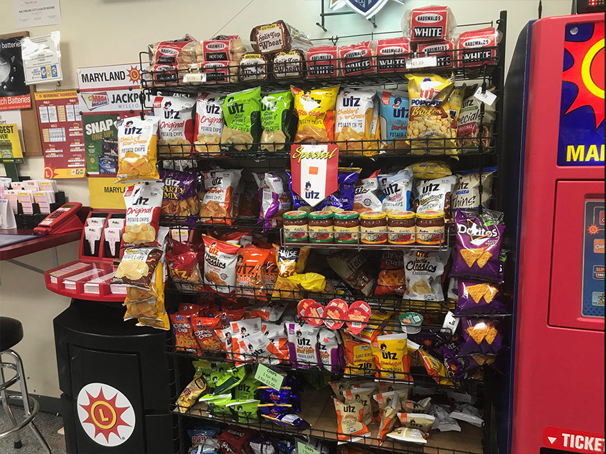 Slushies & snowballs all year round, nachos, popcorn, coddies, heat & eat sandwiches, coffee, cappuccino, fountain drinks! We also sell large bags of ice. Look around the Three Brothers store for more items to satisfy your cravings!