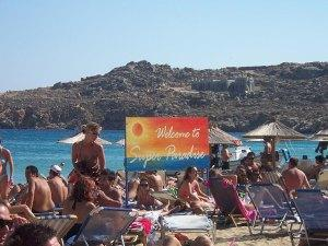 Sign at Super Paradise Beach Mykonos