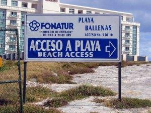 Sign to the Cancun Beaches