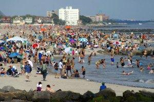 Crowds at Coney Island Beach