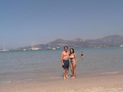 Dad and Dana on the beach in Calvi