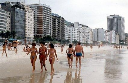 Row of hotels along Copacabana beach