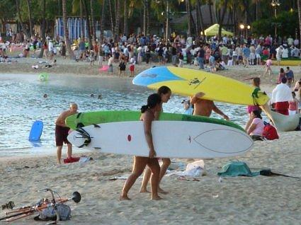 Surfing on Sunset Beach, Hawaii